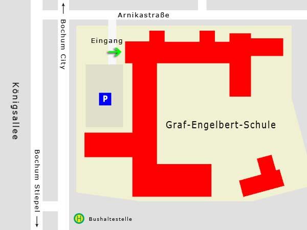 Lageplan der Graf-Engelbert-Schule in Bochum